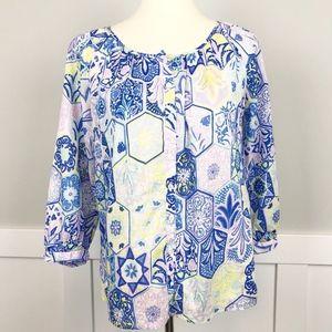 🌻Talbots Button Front Blouse Vivid Multi Color